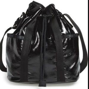 NWT Lesportsac shiny black bucket bag